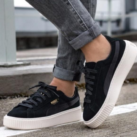 puma platform sneakers suede